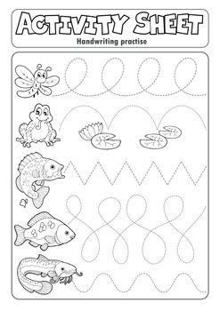 Activity sheet handwriting practise 7 - eps10 vector illustration.