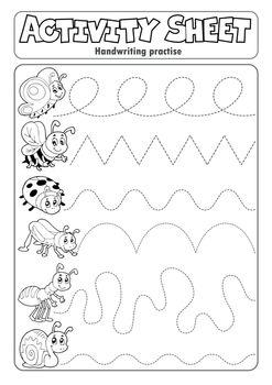 Activity sheet handwriting practise 6 - eps10 vector illustration.