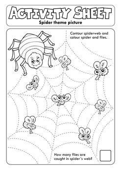 Activity sheet spider theme 1 - eps10 vector illustration.