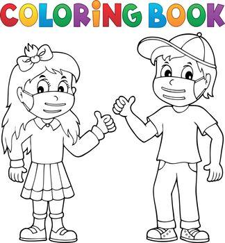 Coloring book kids in medical masks 1 - eps10 vector illustration.