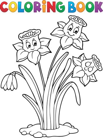 Coloring book narcissus flower image 1 - eps10 vector illustration.