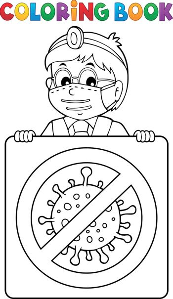 Coloring book doctor with sign theme 1 - eps10 vector illustration.