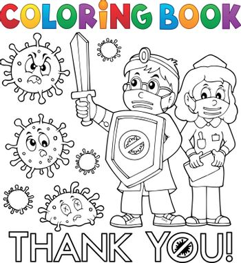 Coloring book thanks to doctor and nurse - eps10 vector illustration.