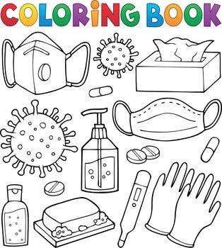 Coloring book virus prevention set 1 - eps10 vector illustration.
