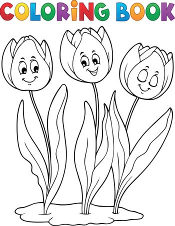 Coloring book tulip flower image 1 - eps10 vector illustration.