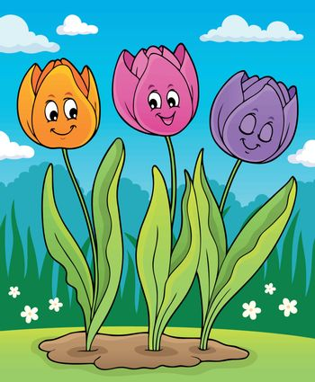 Image with tulip flower theme 6 - eps10 vector illustration.