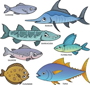Various fishes theme set 1 - eps10 vector illustration.