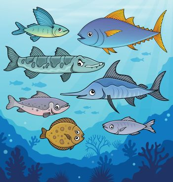Various fishes underwater theme image 1 - eps10 vector illustration.