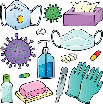 Virus prevention theme set 1 - eps10 vector illustration.
