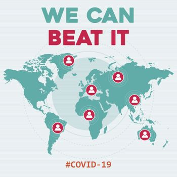 """We can beat it ""-coronavirus optimistic message.  Covid-19 poster. Vector."