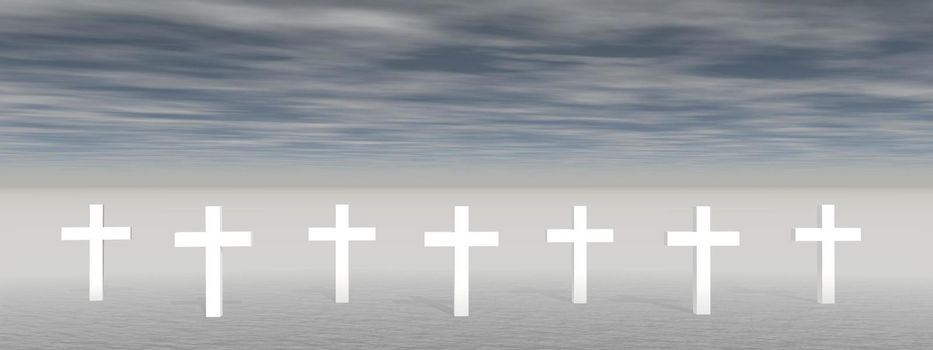 cross on clouds background - 3D rendering