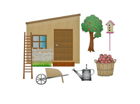 garden tool and house on white background - 3d rendering