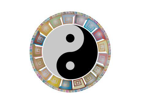 very beautiful yin yang mandala on white background - 3d rendering