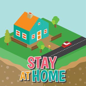 stay at home concept coronavirus quarantine illustration