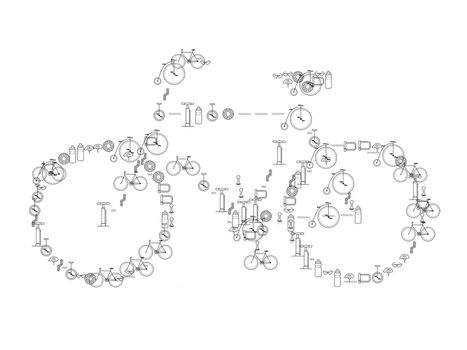 beautiful black bike with logo on white background - 3d rendering