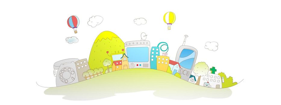 beautiful colors city illustration on white background - 3d rendering