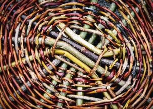 detail of center wicker basket strings