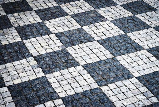 checkered stone pavement