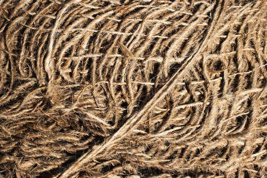detail on tangled linen rope