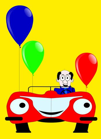 Birthday day card with sports car and baloons.