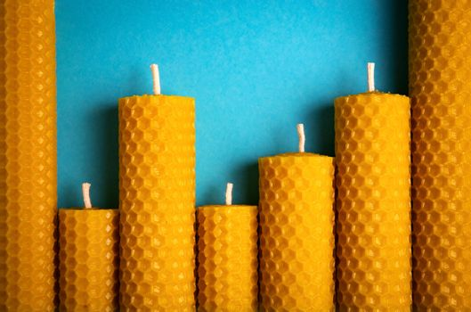 candles with wax honeycomb
