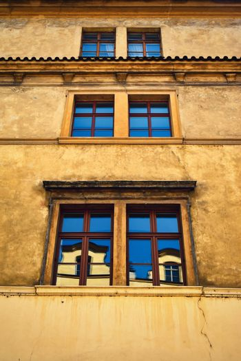 Windows on an old historical building up