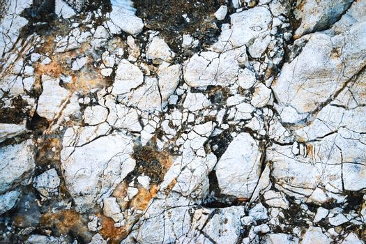 crushed limestone rock in the dirt