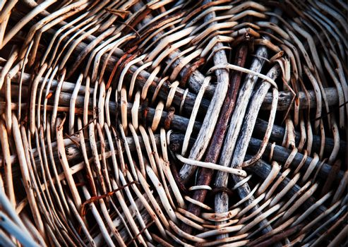 Detail of the bottom of the wicker basket