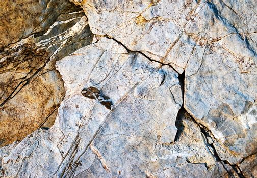 cracked structure on limestone rock