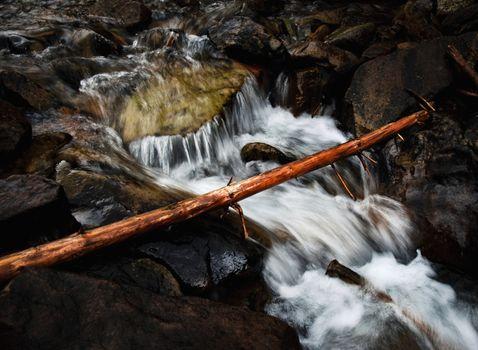 wild brook between rocks