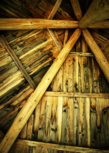 the roof of the old wooden shelter from the inside