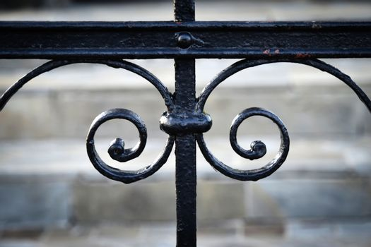 detail of forged black gate