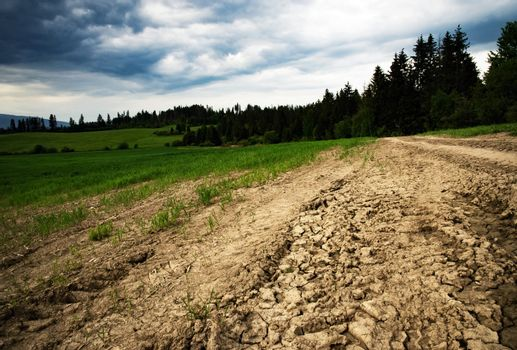 nature background clay path in front of the countryside