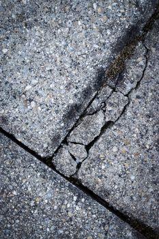 cracked concrete pavement