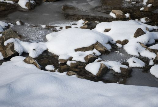 snow on the freezing edge of the river