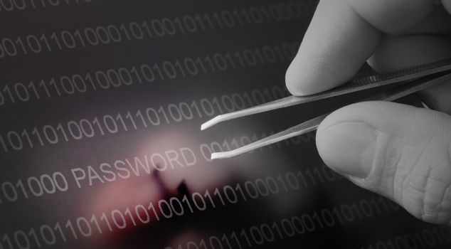 Binary code, password vulnerability taking out with tweezers