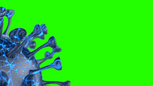 Microscope virus cell. Pandemic bacteria pathogen medical health risk, Corona COVID-19 Alert SOS, immunology, virology, epidemiology concept. 3D illustration on green screen