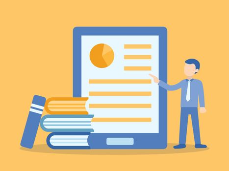 Man teaching online course in tablet. Illustration about E-learning and Online course.