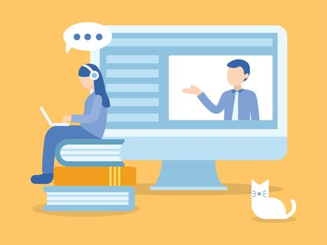 Woman sitting on books. Learning online course. Illustration about E-learning and Online course.