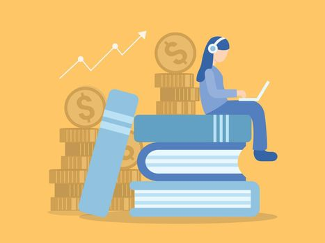 Woman sitting on books. Learning business and finance online course. Illustration about E-learning and Online course.