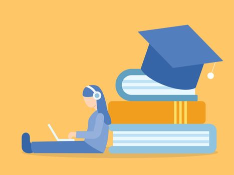 Woman sitting on the floor. Learning online course. Illustration about E-learning and Online course.