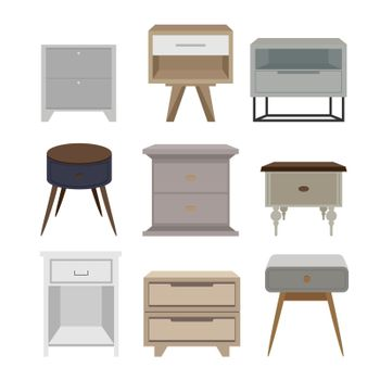 Bedside tables set. Illustration for creating an interior for games. Mockups for design from different angles. Isolated on a white background. Vector illustration.