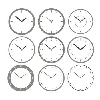 Wall clock set. Vector clocks icons. Illustration for creating an interior for games and scenes. Mockups for design from different angles. Isolated on a white background. Vector illustration.