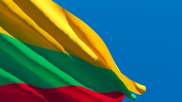 3D rendering of the Lithuania national flag against a blue sky.
