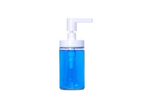 blue medical sterilizing dispenser bottle over white background