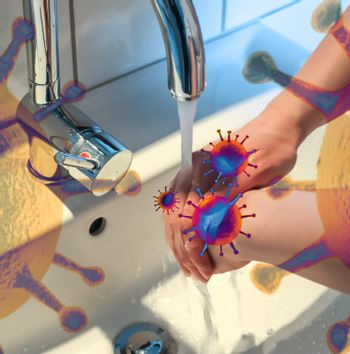 Cleaning and washing hands with soap prevention for outbreak of coronavirus covid-19