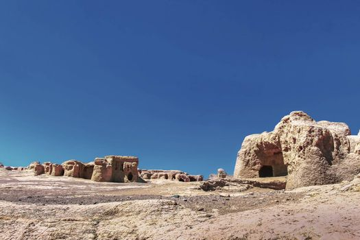 Ruins of the ancient earthen city of Jiaohe , also known as Yarkhoto or Yar City