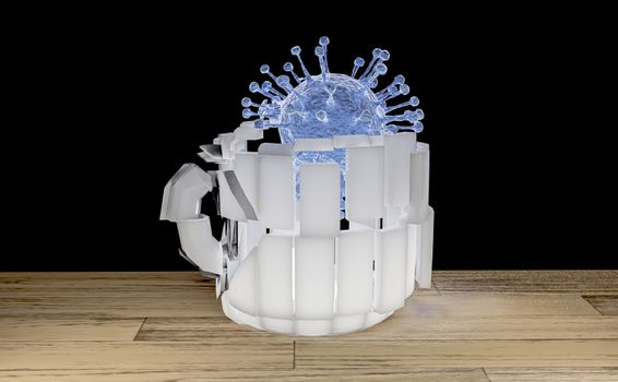 crack mug destroy by corona covid virus