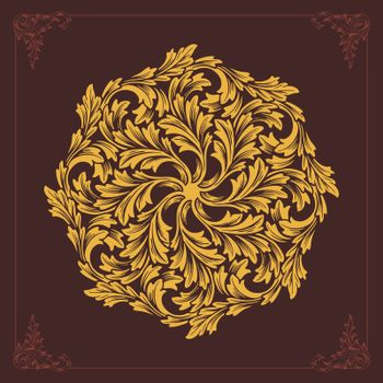 Beatiful Mandala ornaments design flourish vector Gold color