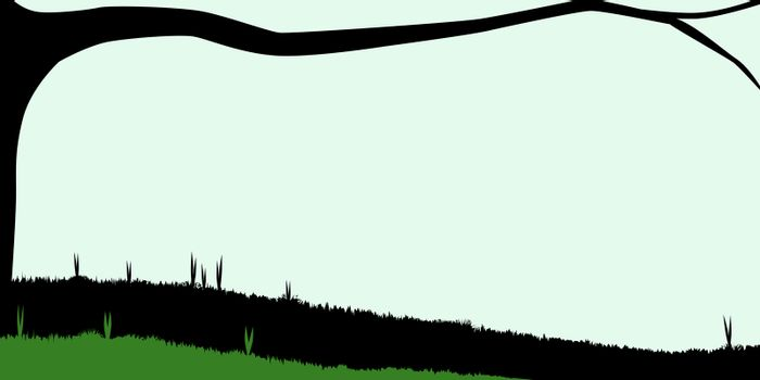 Silhouette of a branch stretching out over a meadow.